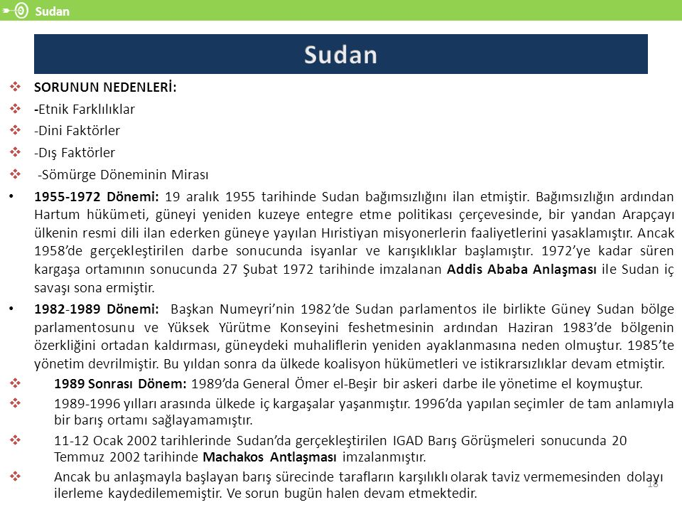 Sudan 18  SORUNUN NEDENLERİ:  -Etnik Farklılıklar  -Dini Faktörler  -Dış Faktörler  -Sömürge Döneminin Mirası 1955-1972 Dönemi: 19 aralık 1955 ta