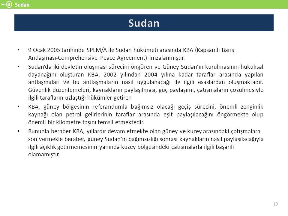 Sudan 19 9 Ocak 2005 tarihinde SPLM/A ile Sudan hükümeti arasında KBA (Kapsamlı Barış Antlaşması-Comprehensive Peace Agreement) imzalanmıştır. Sudan'd