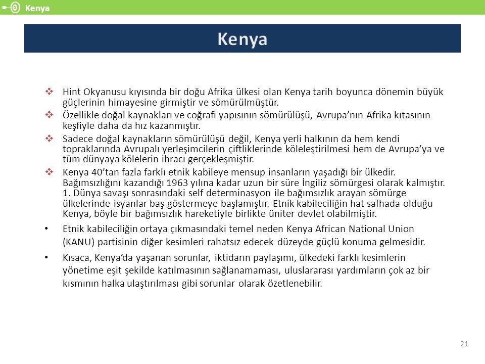 Kenya 21  Hint Okyanusu kıyısında bir doğu Afrika ülkesi olan Kenya tarih boyunca dönemin büyük güçlerinin himayesine girmiştir ve sömürülmüştür.  Ö