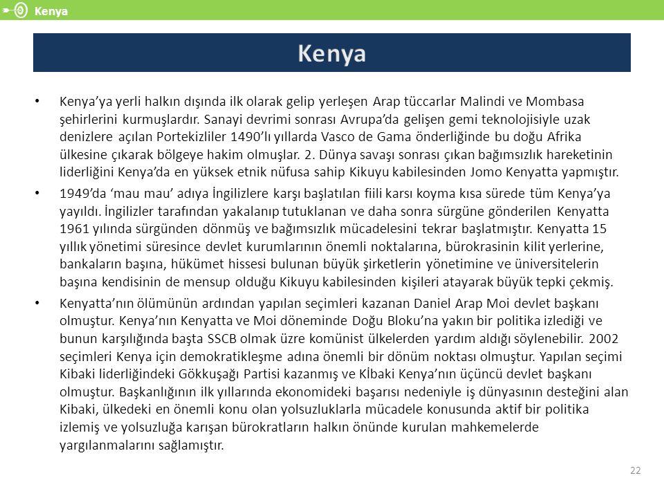 Kenya 22 Kenya'ya yerli halkın dışında ilk olarak gelip yerleşen Arap tüccarlar Malindi ve Mombasa şehirlerini kurmuşlardır. Sanayi devrimi sonrası Av