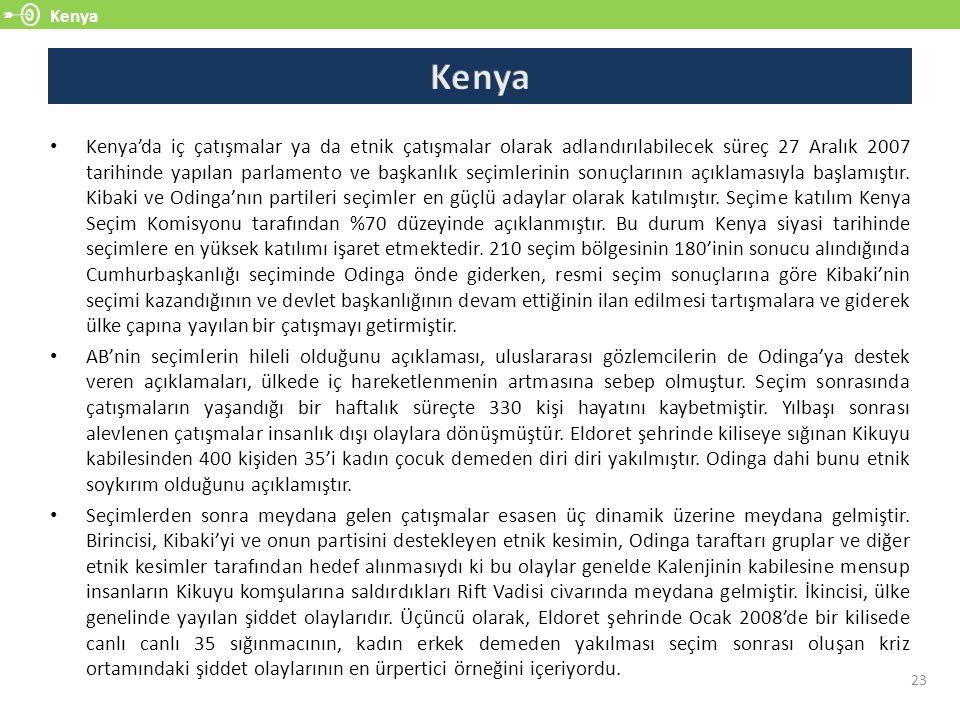 Kenya 23 Kenya'da iç çatışmalar ya da etnik çatışmalar olarak adlandırılabilecek süreç 27 Aralık 2007 tarihinde yapılan parlamento ve başkanlık seçiml