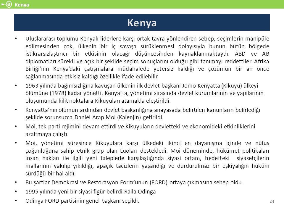 Kenya 24 Uluslararası toplumu Kenyalı liderlere karşı ortak tavra yönlendiren sebep, seçimlerin manipüle edilmesinden çok, ülkenin bir iç savaşa sürük
