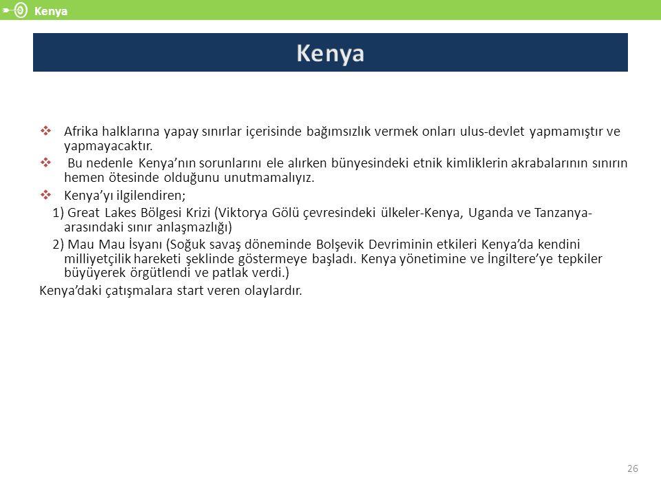 Kenya 26  Afrika halklarına yapay sınırlar içerisinde bağımsızlık vermek onları ulus-devlet yapmamıştır ve yapmayacaktır.  Bu nedenle Kenya'nın soru