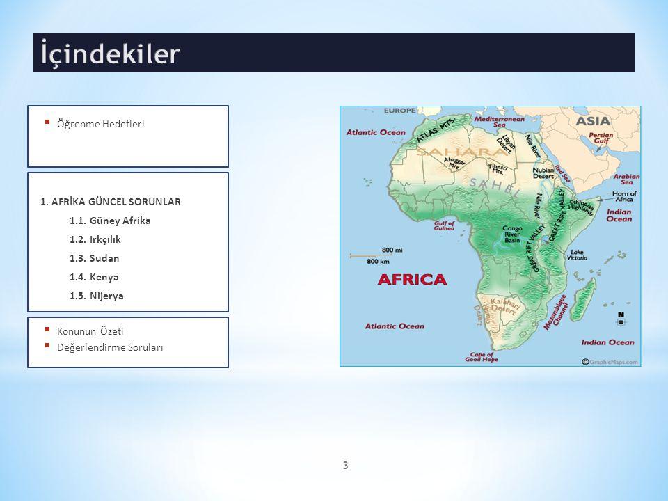 1. AFRİKA GÜNCEL SORUNLAR 1.1. Güney Afrika 1.2. Irkçılık 1.3. Sudan 1.4. Kenya 1.5. Nijerya  Konunun Özeti  Değerlendirme Soruları  Öğrenme Hedefl