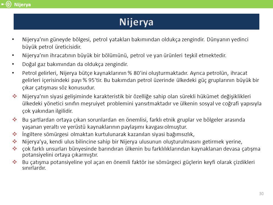 Nijerya 30 Nijerya'nın güneyde bölgesi, petrol yatakları bakımından oldukça zengindir. Dünyanın yedinci büyük petrol üreticisidir. Nijerya'nın ihracat