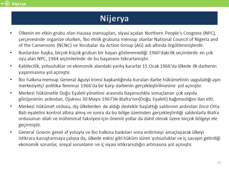 Nijerya 31 Ülkenin en etkin grubu olan Haussa mensupları, siyasi açıdan Northern People's Congress (NPC), çerçevesinde organize olurken, İbo etnik gr