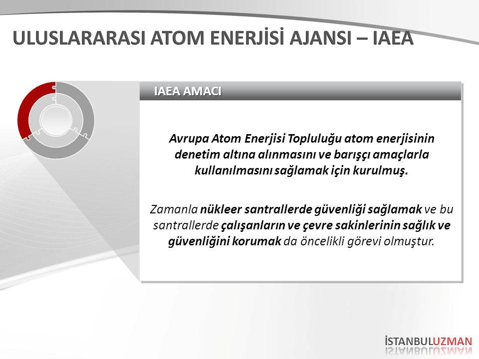IAEA AMACI Avrupa Atom Enerjisi Topluluğu atom enerjisinin denetim altına alınmasını ve barışçı amaçlarla kullanılmasını sağlamak için kurulmuş. Zaman
