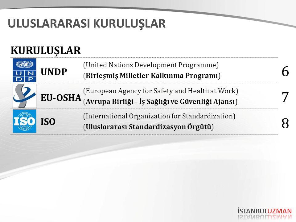 (United Nations Development Programme) (Birleşmiş Milletler Kalkınma Programı) (European Agency for Safety and Health at Work) (Avrupa Birliği - İş Sağlığı ve Güvenliği Ajansı) UNDP EU-OSHA ISO (International Organization for Standardization) (Uluslararası Standardizasyon Örgütü) 6 7 8