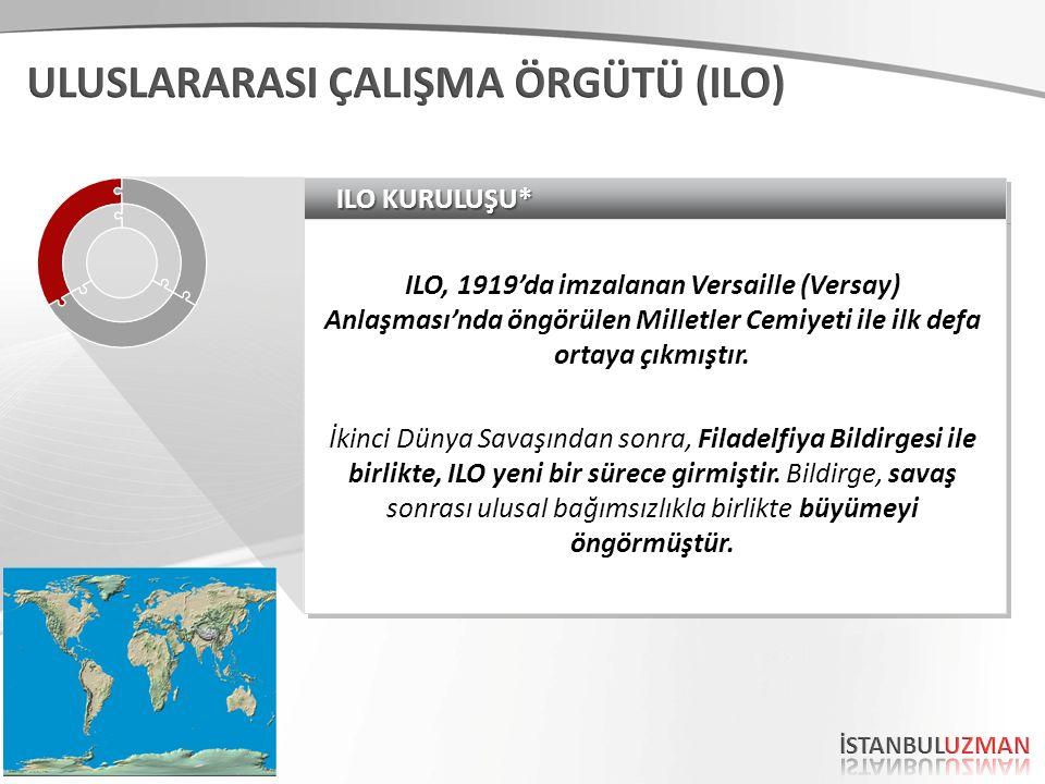 ILO KURULUŞU* ILO, 1919'da imzalanan Versaille (Versay) Anlaşması'nda öngörülen Milletler Cemiyeti ile ilk defa ortaya çıkmıştır. İkinci Dünya Savaşın