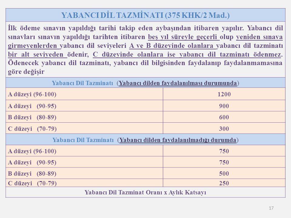 17 YABANCI DİL TAZMİNATI (375 KHK/2 Mad.) İlk ödeme sınavın yapıldığı tarihi takip eden aybaşından itibaren yapılır. Yabancı dil sınavları sınavın yap