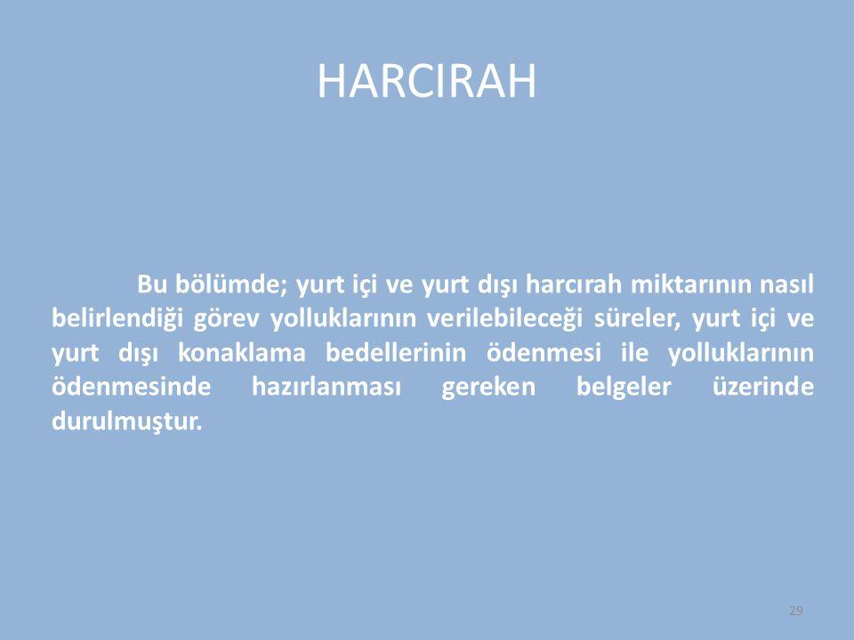 HARCIRAH Bu bölümde; yurt içi ve yurt dışı harcırah miktarının nasıl belirlendiği görev yolluklarının verilebileceği süreler, yurt içi ve yurt dışı ko