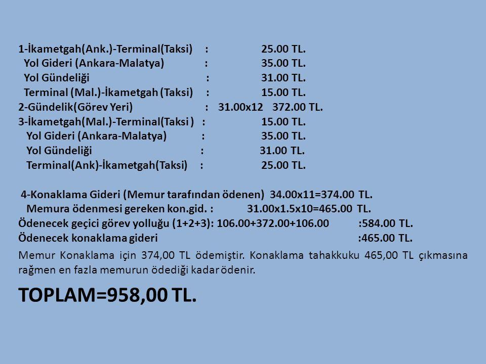 1-İkametgah(Ank.)-Terminal(Taksi) : 25.00 TL. Yol Gideri (Ankara-Malatya) : 35.00 TL. Yol Gündeliği : 31.00 TL. Terminal (Mal.)-İkametgah (Taksi) :15.