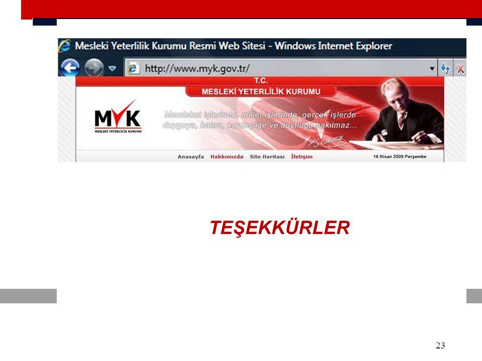 www.myk.gov.tr bakbas@myk.gov.tr 23 TEŞEKKÜRLER