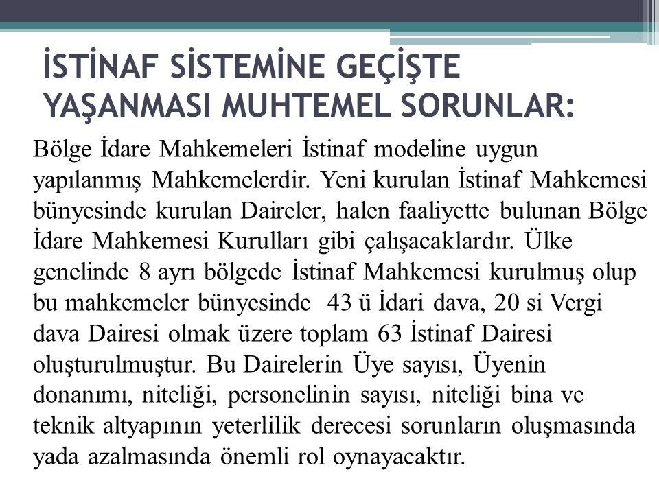 İSTİNAF SİSTEMİNE GEÇİŞTE YAŞANMASI MUHTEMEL SORUNLAR: Bölge İdare Mahkemeleri İstinaf modeline uygun yapılanmış Mahkemelerdir. Yeni kurulan İstinaf M