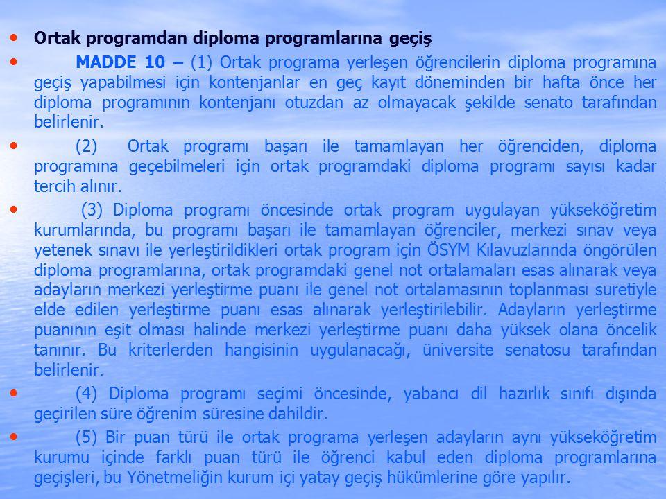Ortak programdan diploma programlarına geçiş MADDE 10 – (1) Ortak programa yerleşen öğrencilerin diploma programına geçiş yapabilmesi için kontenjanlar en geç kayıt döneminden bir hafta önce her diploma programının kontenjanı otuzdan az olmayacak şekilde senato tarafından belirlenir.