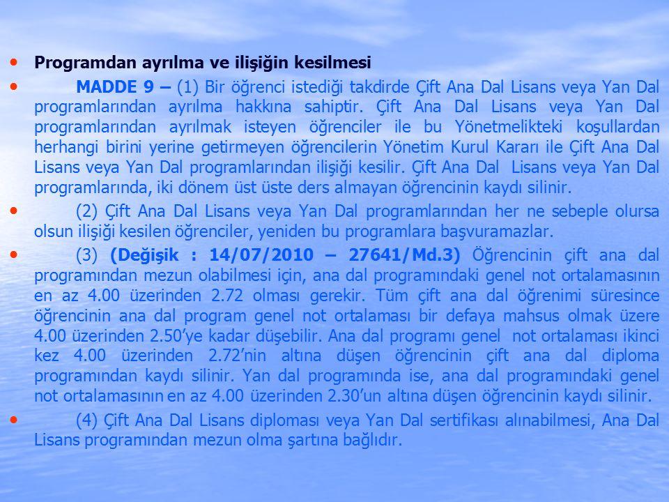 Programdan ayrılma ve ilişiğin kesilmesi MADDE 9 – (1) Bir öğrenci istediği takdirde Çift Ana Dal Lisans veya Yan Dal programlarından ayrılma hakkına sahiptir.