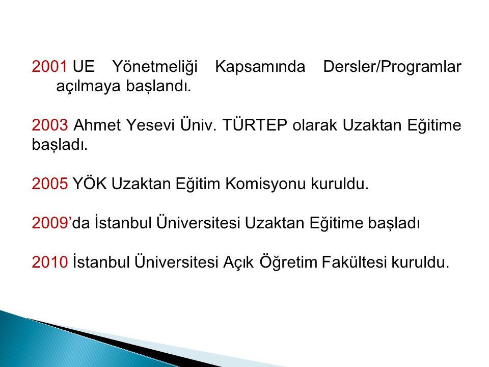 2001 UE Yönetmeliği Kapsamında Dersler/Programlar açılmaya başlandı.