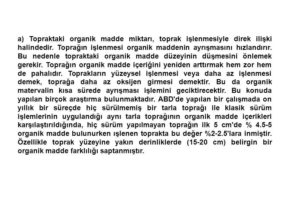 a) Topraktaki organik madde miktarı, toprak işlenmesiyle direk ilişki halindedir.