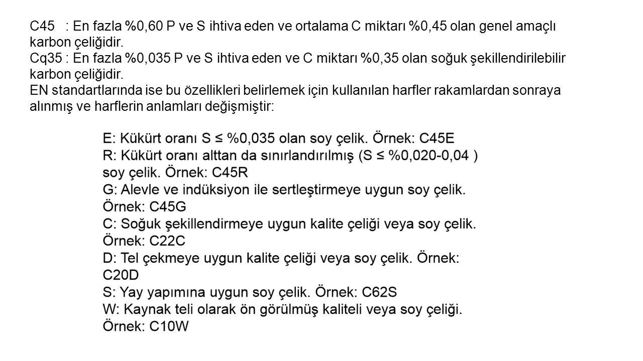 C45 : En fazla %0,60 P ve S ihtiva eden ve ortalama C miktarı %0,45 olan genel amaçlı karbon çeliğidir. Cq35 : En fazla %0,035 P ve S ihtiva eden ve C