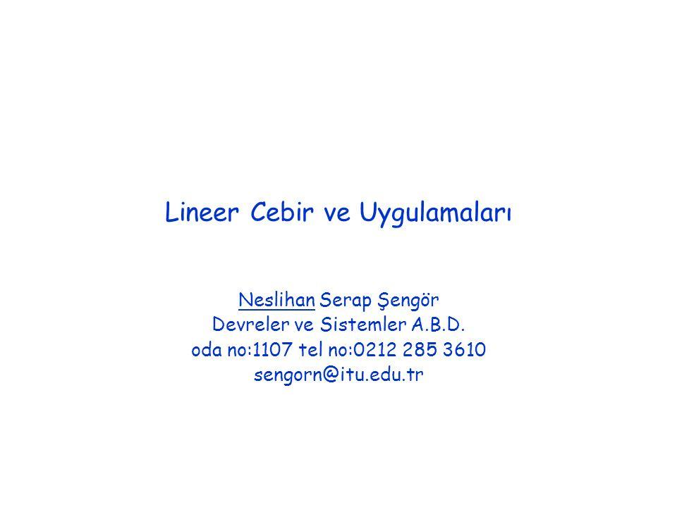 Lineer Cebir ve Uygulamaları Neslihan Serap Şengör Devreler ve Sistemler A.B.D.