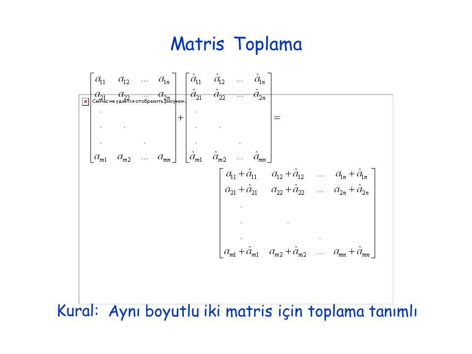 Matris Toplama Kural:Aynı boyutlu iki matris için toplama tanımlı