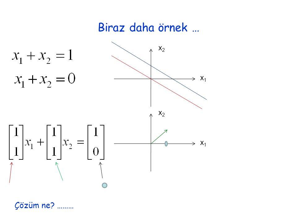 Biraz daha örnek … x1x1 x2x2 x1x1 x2x2 Çözüm ne ………