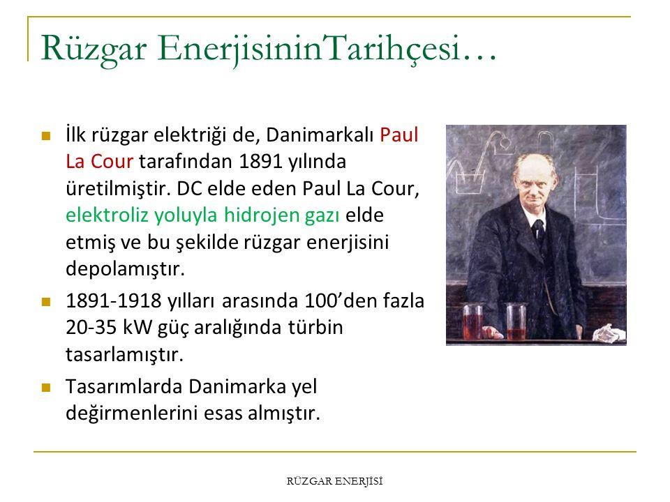 Rüzgar EnerjisininTarihçesi… İlk rüzgar elektriği de, Danimarkalı Paul La Cour tarafından 1891 yılında üretilmiştir.