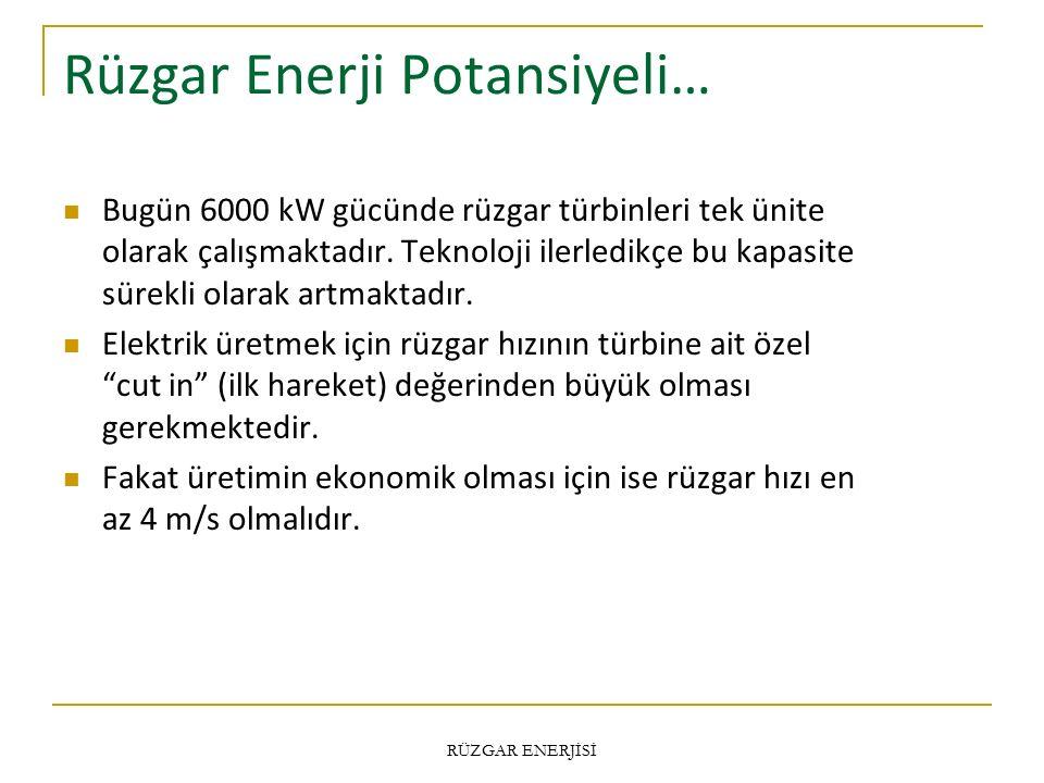 Rüzgar Enerji Potansiyeli… Bugün 6000 kW gücünde rüzgar türbinleri tek ünite olarak çalışmaktadır.
