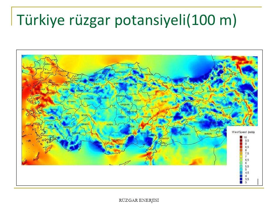 Türkiye rüzgar potansiyeli(100 m) RÜZGAR ENERJİSİ