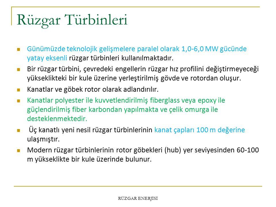 Rüzgar Türbinleri Günümüzde teknolojik gelişmelere paralel olarak 1,0-6,0 MW gücünde yatay eksenli rüzgar türbinleri kullanılmaktadır.