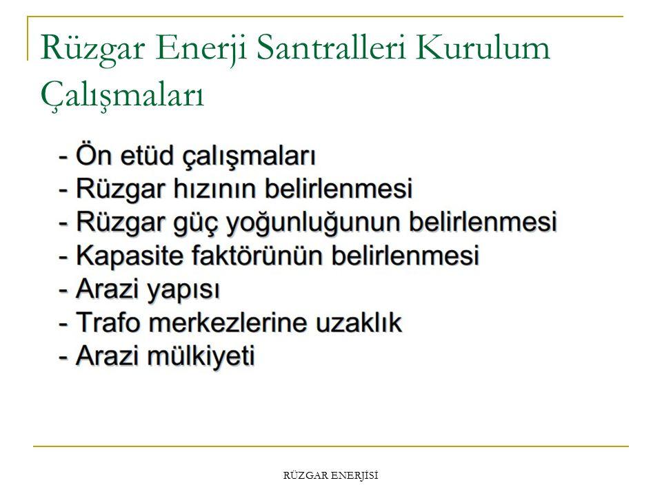 Rüzgar Enerji Santralleri Kurulum Çalışmaları RÜZGAR ENERJİSİ