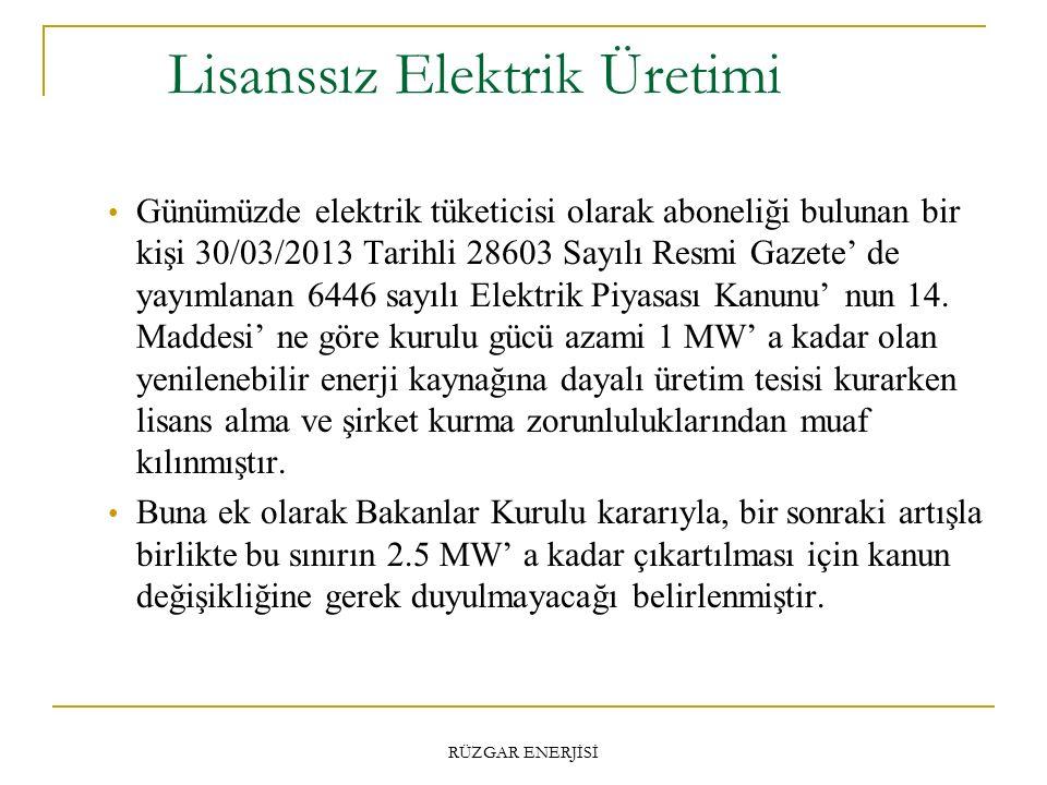 Lisanssız Elektrik Üretimi RÜZGAR ENERJİSİ Günümüzde elektrik tüketicisi olarak aboneliği bulunan bir kişi 30/03/2013 Tarihli 28603 Sayılı Resmi Gazete' de yayımlanan 6446 sayılı Elektrik Piyasası Kanunu' nun 14.