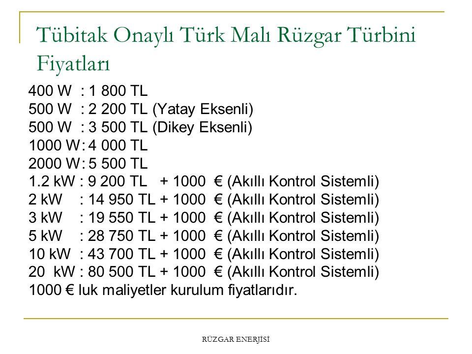 Tübitak Onaylı Türk Malı Rüzgar Türbini Fiyatları RÜZGAR ENERJİSİ 400 W : 1 800 TL 500 W : 2 200 TL (Yatay Eksenli) 500 W : 3 500 TL (Dikey Eksenli) 1000 W: 4 000 TL 2000 W: 5 500 TL 1.2 kW : 9 200 TL + 1000 € (Akıllı Kontrol Sistemli) 2 kW : 14 950 TL + 1000 € (Akıllı Kontrol Sistemli) 3 kW : 19 550 TL + 1000 € (Akıllı Kontrol Sistemli) 5 kW : 28 750 TL + 1000 € (Akıllı Kontrol Sistemli) 10 kW : 43 700 TL + 1000 € (Akıllı Kontrol Sistemli) 20 kW : 80 500 TL + 1000 € (Akıllı Kontrol Sistemli) 1000 € luk maliyetler kurulum fiyatlarıdır.