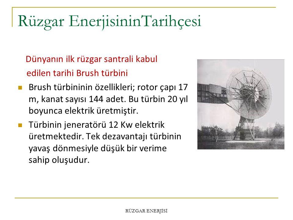Rüzgar EnerjisininTarihçesi Dünyanın ilk rüzgar santrali kabul edilen tarihi Brush türbini Brush türbininin özellikleri; rotor çapı 17 m, kanat sayısı 144 adet.