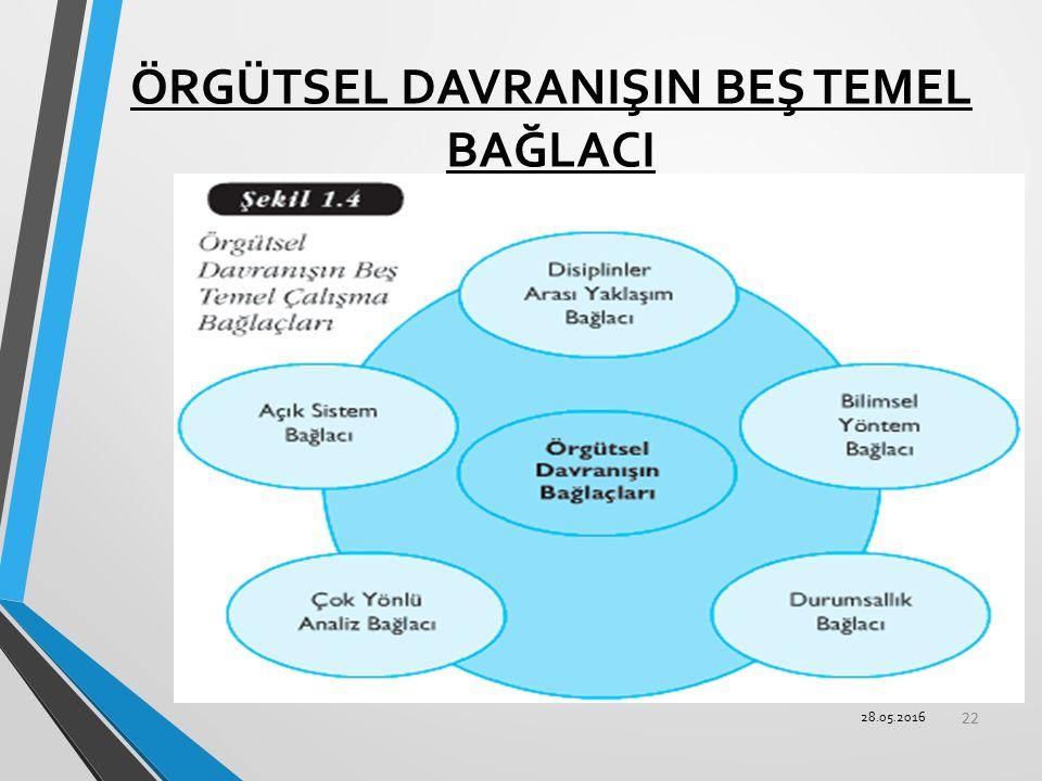 ÖRGÜTSEL DAVRANIŞIN BEŞ TEMEL BAĞLACI 22 28.05.2016