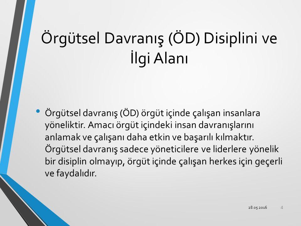 Örgütsel Davranış (ÖD) Disiplini ve İlgi Alanı Örgütsel davranış (ÖD) örgüt içinde çalışan insanlara yöneliktir. Amacı örgüt içindeki insan davranışla