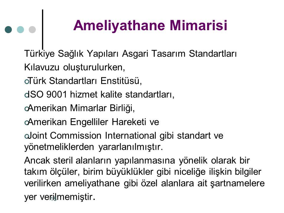 Türkiye Sağlık Yapıları Asgari Tasarım Standartları Kılavuzu oluşturulurken, Türk Standartları Enstitüsü, ISO 9001 hizmet kalite standartları, Amerikan Mimarlar Birliği, Amerikan Engelliler Hareketi ve Joint Commission International gibi standart ve yönetmeliklerden yararlanılmıştır.