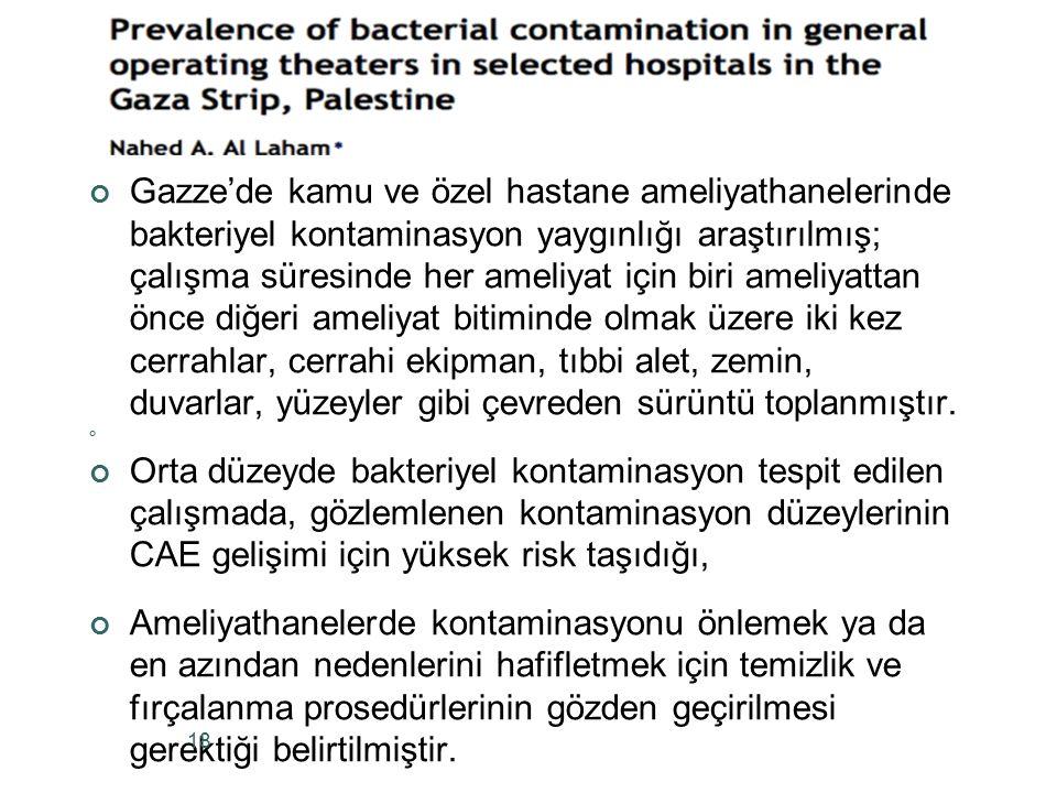 Gazze'de kamu ve özel hastane ameliyathanelerinde bakteriyel kontaminasyon yaygınlığı araştırılmış; çalışma süresinde her ameliyat için biri ameliyatt