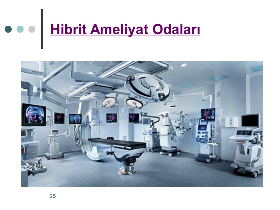 Modern ameliyat odaları 55 ila 65 m 2 arasında değişirken hibrit ameliyat odaları ve kontrol alanının 90-110 m 2 arasında olması gerekir.
