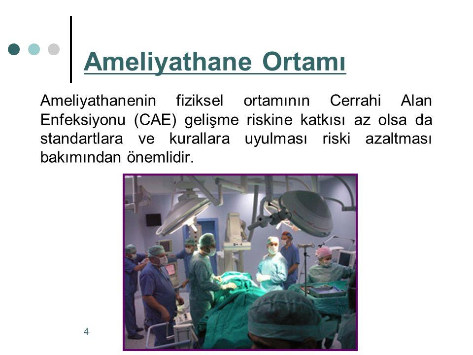 Ameliyathanenin fiziksel ortamının Cerrahi Alan Enfeksiyonu (CAE) gelişme riskine katkısı az olsa da standartlara ve kurallara uyulması riski azaltmas