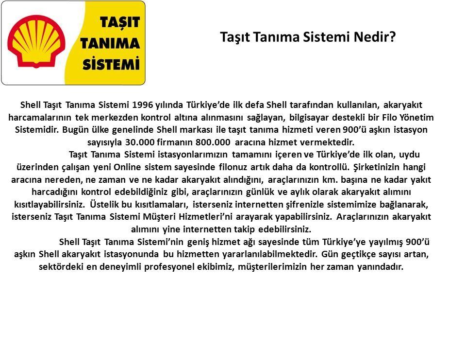Shell Taşıt Tanıma Sistemi 1996 yılında Türkiye'de ilk defa Shell tarafından kullanılan, akaryakıt harcamalarının tek merkezden kontrol altına alınmasını sağlayan, bilgisayar destekli bir Filo Yönetim Sistemidir.