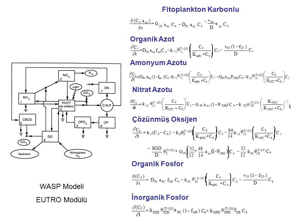  t t D C  (C 8 ) P1PC OP48383 mPC 4 88  DafC  k  K C K C C4C4   C  v S3 (1  f D8 )  ( T  20)  Organik Fosfor OP4OPDOPDD88PZDPZDPC C θ (T  20) f θ (T  20) a (1  f) C  k  t t  (C 3 )  k İnorganik Fosfor 112 52S6d d 14   C C   NIT6  C6C6 KCKC   C  64 k   BOD6  C6C6 KCKC θ (T  20)  C 6  k (C  C )  k θ (T  20)   t t  1R ncNH3 4S θC4θC4 12 32 θ D (T  20) CC   G P1   1214 a  1  P   k  32  48 (T  20)  SODSOD Çözünmüş Oksijen 2NH342D 2DP1 nc112 K NO3 dt  CC    K NO3  C 6   Ga(1  P) C  kθ   C C    K NIT  C 6  C 2  k C6C6 (T  20) θ (T  20)  Nitrat Azotu 17P1 nc NH3 412 12P1 ncon471 71  CC C6C6    K NIT  C 6   C  G a PC  k C4C4    K mPc  C 4  C 1  D a (1  f)C  k θ (T  20)   t t  Amonyum Azotu 77P1 nc on471 71 C D C4C4 v S3 (1  f D7 )   C  C     mPc4   KCKC a f C  k C7 DC7 D θ (T  20)   t t  Organik Azot  (C a)  t t v D C P1nc4P1nc4nc4nc4 4nc  G aC  DaC  S4 a Fitoplankton Karbonlu WASP Modeli EUTRO Modülü