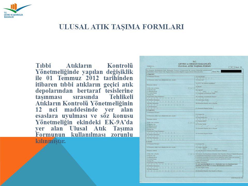 ULUSAL ATIK TAŞIMA FORMLARI Tıbbi Atıkların Kontrolü Yönetmeliğinde yapılan değişiklik ile 01 Temmuz 2012 tarihinden itibaren tıbbi atıkların geçici atık depolarından bertaraf tesislerine taşınması sırasında Tehlikeli Atıkların Kontrolü Yönetmeliğinin 12 nci maddesinde yer alan esaslara uyulması ve söz konusu Yönetmeliğin ekindeki EK-9A'da yer alan Ulusal Atık Taşıma Formunun kullanılması zorunlu kılınmıştır.