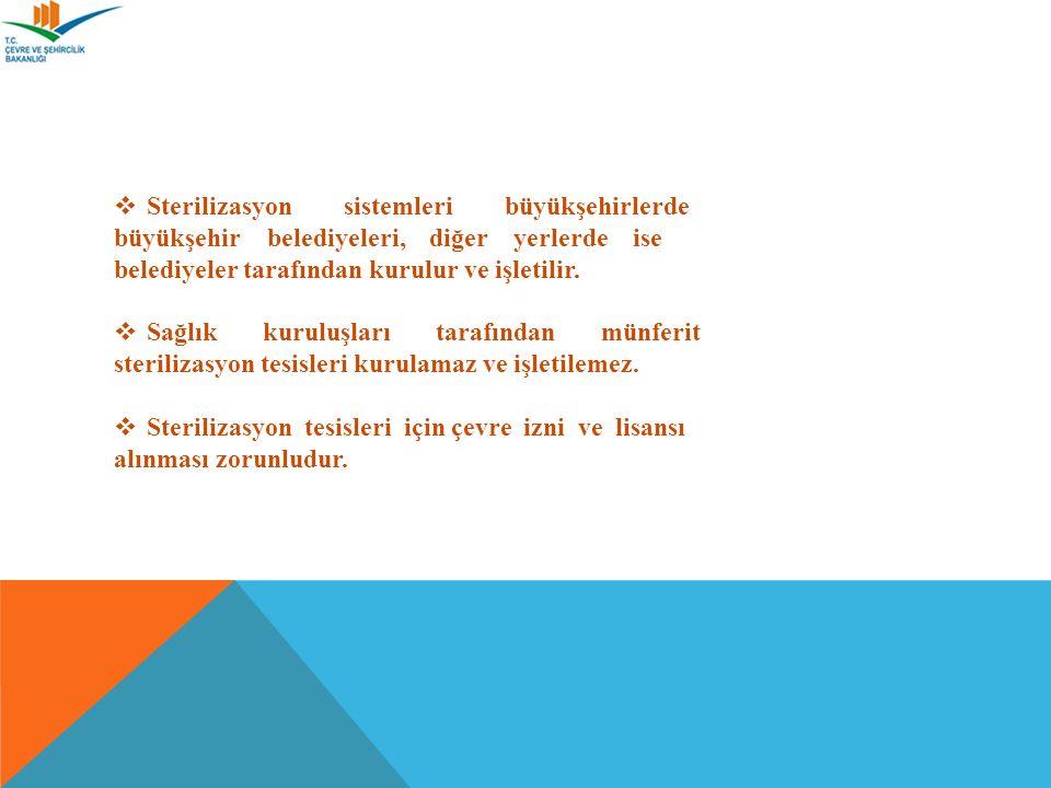  Sterilizasyon sistemleri büyükşehirlerde büyükşehir belediyeleri, diğer yerlerde ise belediyeler tarafından kurulur ve işletilir.