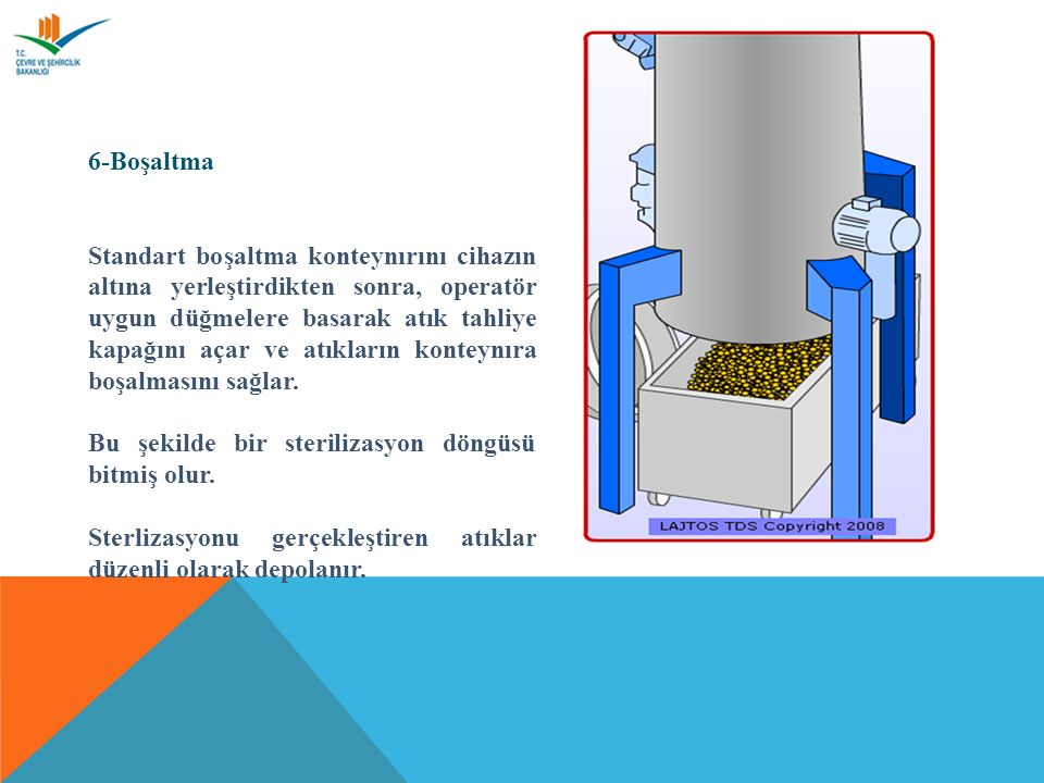 6-Boşaltma Standart boşaltma konteynırını cihazın altına yerleştirdikten sonra, operatör uygun düğmelere basarak atık tahliye kapağını açar ve atıkların konteynıra boşalmasını sağlar.