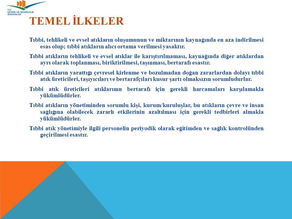 TEMEL İLKELER Tıbbi, tehlikeli ve evsel atıkların oluşumunun ve miktarının kaynağında en aza indirilmesi esas olup; tıbbi atıkların alıcı ortama verilmesi yasaktır.
