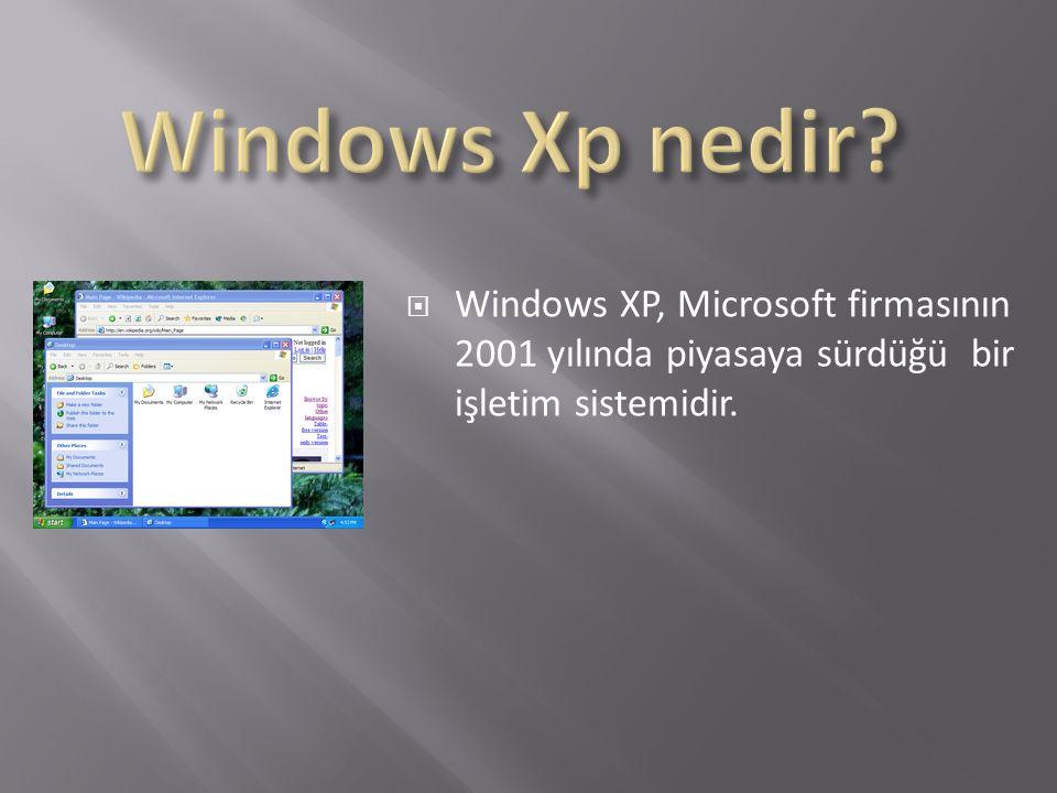  Windows XP, Microsoft firmasının 2001 yılında piyasaya sürdüğü bir işletim sistemidir.