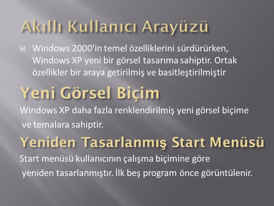 Windows 2000 in temel özelliklerini sürdürürken, Windows XP yeni bir görsel tasarıma sahiptir.