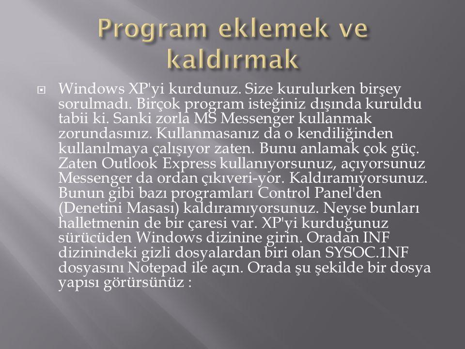  Windows XP yi kurdunuz. Size kurulurken birşey sorulmadı.