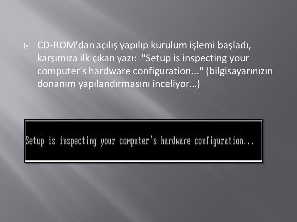  CD-ROM dan açılış yapılıp kurulum işlemi başladı, karşımıza ilk çıkan yazı: Setup is inspecting your computer s hardware configuration... (bilgisayarınızın donanım yapılandırmasını inceliyor…)